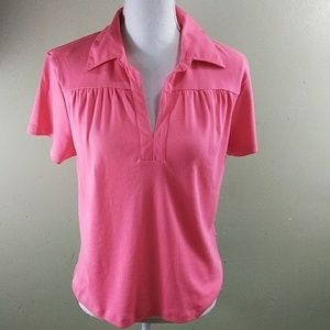 Coral Collared Top with Split Neckline L NWT